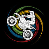 Motorcycle cross jumping graphic Stock Images