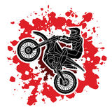 Motorcycle cross jumping graphic royalty free illustration