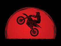 Motorcycle cross jumping graphic Royalty Free Stock Images