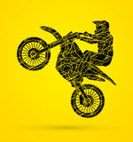 Motorcycle cross jumping graphic Royalty Free Stock Photography
