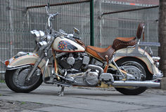 Motorcycle cruiser. Fancy motorcycle cruiser parked in downtown Royalty Free Stock Images