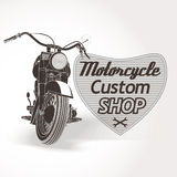 Motorcycle custom motor shop emblem. Vector Stock Images