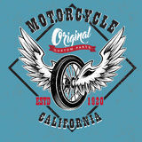 Motorcycle Custom Parts Emblem. Of shop with winged wheel red ribbon on blue textured background vector illustration Royalty Free Stock Image