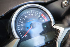 This is motorcycle dashboard closeup. Stock Photos