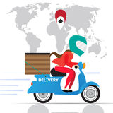Motorcycle delivery woman scooter  Stock Images