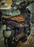 Motorcycle destroyed in fire due to electrical and battery problems. Hdr royalty free stock images