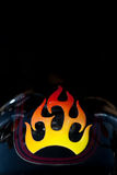 Motorcycle detail. Of fender with custom flame paint in natural light Stock Photo