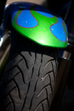 Motorcycle detail. Front fender and tyre with custom paint flames Royalty Free Stock Photography