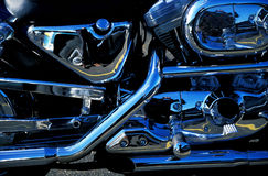 Motorcycle Detail. With lots of chrome Royalty Free Stock Photography