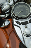 Motorcycle. Detail of motorcycle, fuel tank, driver angle of view Royalty Free Stock Images