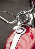 Motorcycle detail. Red classic motorcycle tachometer front detail Stock Image