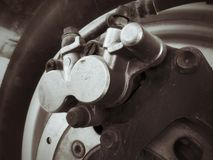 Motorcycle disc brake. Royalty Free Stock Photos