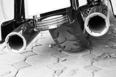 Motorcycle double exhaust stock photos