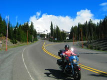 Motorcycle down mount hood Royalty Free Stock Photos