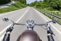 Motorcycle driver. Looking at the road Royalty Free Stock Photos