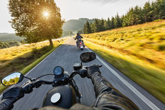 Motorcycle drivers riding on motorway Royalty Free Stock Photography