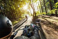 Motorcycle drivers riding on motorway Royalty Free Stock Photos