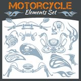 Motorcycle elements vector set. Stock Photos