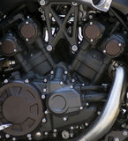 Motorcycle engine 1. Matt black motorcycle engine - close-up Royalty Free Stock Image