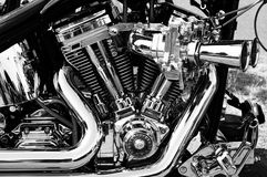 Motorcycle engine. A fragment of a motorcycle engine. Black and White Royalty Free Stock Images