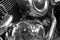 Motorcycle engine. Closeup of Yamaha motorcycle engine. BW photo stock photo
