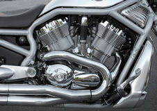 Motorcycle engine. Detail of a chrome motorcycle engine Royalty Free Stock Photography