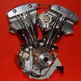 Motorcycle Engine against red background Royalty Free Stock Photography