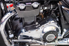 Motorcycle Engine. Brand new cruiser bike on display royalty free stock photos