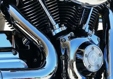 Motorcycle engine chrome Royalty Free Stock Photos