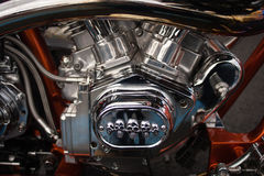 Motorcycle engine chrome Stock Photos
