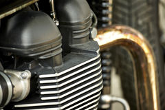 Motorcycle engine. Close-up detail background stock photos