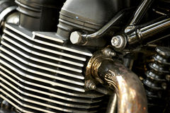 Motorcycle engine. Close-up detail background stock photography