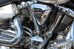 Motorcycle engine. Closeup of chromed motorcycle engine Royalty Free Stock Images