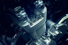 Motorcycle engine closeup on dark background Royalty Free Stock Photography