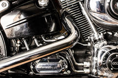 Motorcycle engine and exhaust pipes Stock Photos