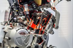 Motorcycle engine and gearbox stock images