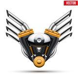 Motorcycle engine with metal wings. Vector Royalty Free Stock Photography