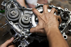 Motorcycle engine repair Stock Images