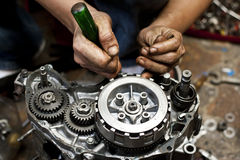 Motorcycle engine repair Royalty Free Stock Photography
