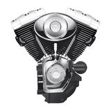 Motorcycle engine. Retro motorcycle engine in chrome and black colors Royalty Free Stock Photography