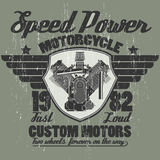 Motorcycle engine, riders team emblem graphic Stock Photography