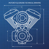 Motorcycle engine technical drawing illustration. Technical drawings of motorcycle engine. Motor engineering concept. Vector illustration Royalty Free Stock Image