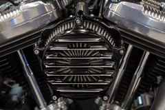 Motorcycle engine a twin-cylinder Stock Photos