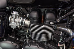 Motorcycle engine a twin-cylinder Stock Photography