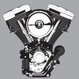 Motorcycle engine. Vector illustration in black and white royalty free illustration