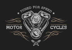 Motorcycle engine in vintage style. Emblem, symbol, t-shirt graphic. For dark background Stock Photo
