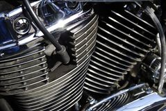 Motorcycle enigne. Close up view of v-twin motorcycle engine royalty free stock images