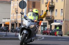 Motorcycle escort technique during the sporting event Royalty Free Stock Images