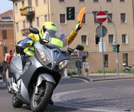 Motorcycle escort technique during the sporting event. In City Road Royalty Free Stock Images