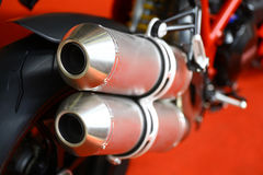 Motorcycle exhaust. Close up shot of a motorcycle exhaust pipes Royalty Free Stock Image
